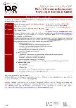 Dossier de candidature - Les formations à l`université de Bourgogne