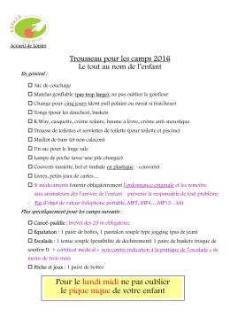 Trousseau Camps 2016 - BLOG de l`ESPACE BAUGEOIS