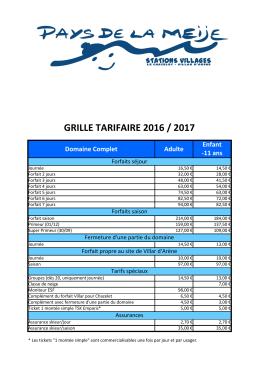 grille tarifaire 2016 / 2017