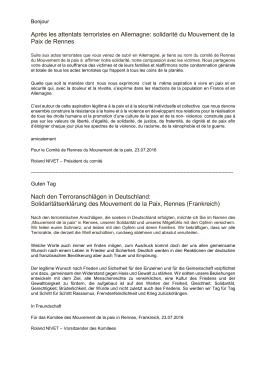 Solidarität aus unserer Partnerstadt Rennes