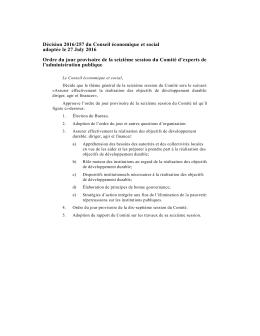 Décision 2016/257 du Conseil économique et social adoptée le 27