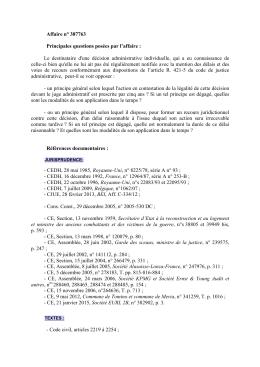 Affaire n° 387763 Principales questions posées par l`affaire : Le
