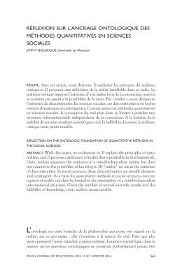 réflexion sur l`ancrage ontologique des méthodes quantitatives en