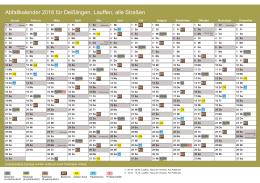 Abfallkalender 2016 für Deißlingen, Lauffen, alle Straßen