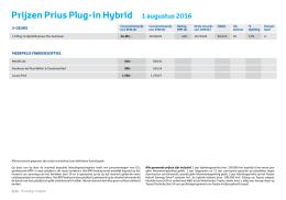 Prijzen Prius Plug-in Hybrid 1 augustus 2016