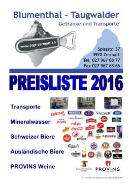 Preisliste Mineral, Bier, Wein und Transporte 2016