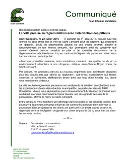 2016/07/26 La Ville précise sa réglementation avec l`interdiction des
