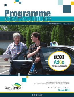 Programme loisir et culture, automne 2016 - Ville de Saint-Bruno