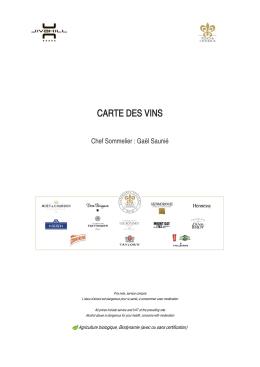 La carte des vins du Shamwari