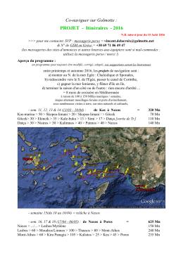 PROJET - Itinéraires - 2016
