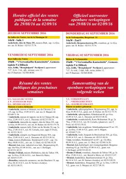 Horaire officiel des ventes publiques de la semaine du 29/08/16 au