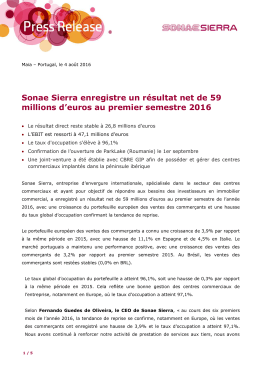 Sonae Sierra enregistre un résultat net de 59 millions d`euros au