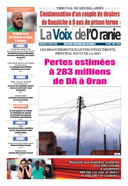 Pertes estimées à 283 millions de DA à Oran