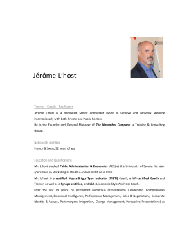 Jérôme L`host - European and International Governance