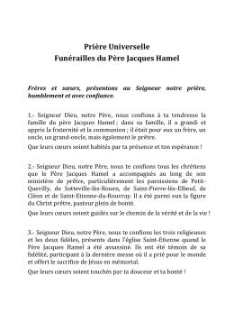 Prière Universelle Funérailles du Père Jacques Hamel