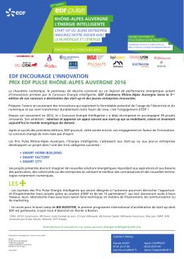 EDF ENCOURAGE L`INNOVATION PRIX EDF PULSE RHÔNE