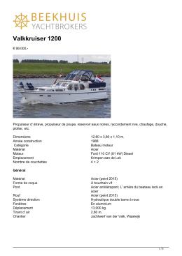 Valkkruiser 1200 - Beekhuis Yachtbrokers