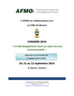 L`AFMO en collaboration avec La Ville de Hearst CONGRÈS 2016