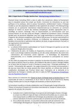 Expert Accès à l`Energie – Burkina Faso Les candidats doivent