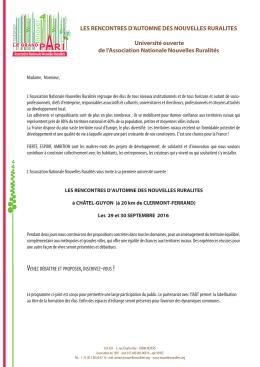 LES RENCONTRES D`AUTOMNE DES NOUVELLES RURALITES