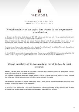 Wendel annule 2% de son capital dans le cadre de son programme