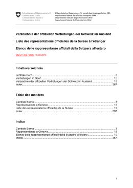 Vertretungsverzeichnis - Eidgenössisches Departement für