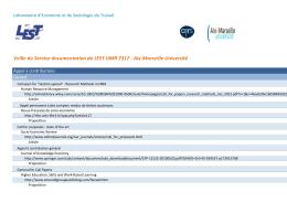 Veille du Service documentation du LEST UMR 7317 - Aix