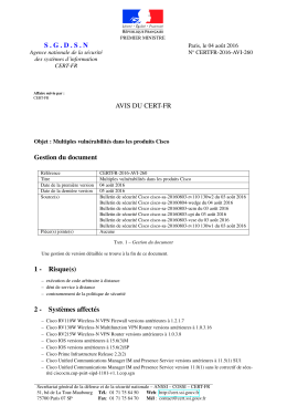 SGDSN AVIS DU CERT-FR Gestion du document 1 - Certa