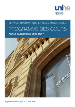 programme des cours - Université de Neuchâtel