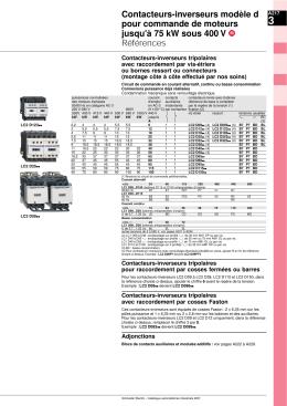 Contacteurs-inverseurs modèle d pour commande de moteurs jusqu