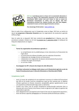 Appel d`offres prestation de services SOS Faim 2016