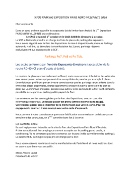 INFOS PARKINGS SCIF EXPOSITION PARIS NORD VILLEPINTE