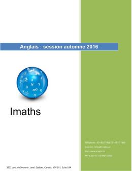 Cours d`anglais Session automne 2016