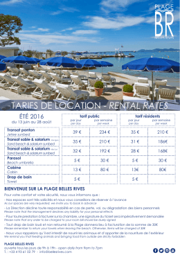 tarifs de location - rental rates