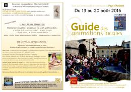 Du 13 au 20 août 2016 - Office de Tourisme du pays d`Ambert