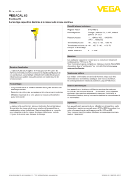 Data sheet - VEGACAL 63 - Profibus PA Sonde tige capacitive