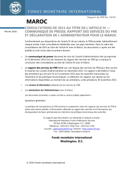 Maroc : Consultations de 2015 au titre de l`article IV
