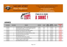 Télécharger la liste - Armurerie Safari sport