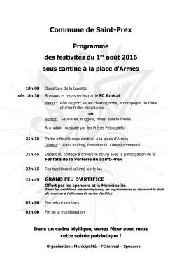 Commune de Saint-Prex Programme des festivités du 1er août 2016