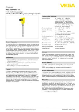 Data sheet - VEGASWING 63 - Sortie électronique statique