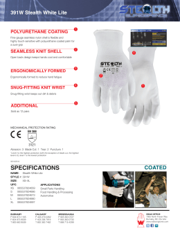 specifications - Watson Gloves