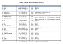Dates de rentrée Master 1ère et 2ème année