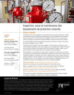 Inspection, essai et maintenance des équipements de