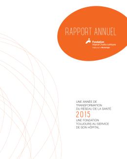 RAPPORT ANNUEL - Fondation Hôpital Charles