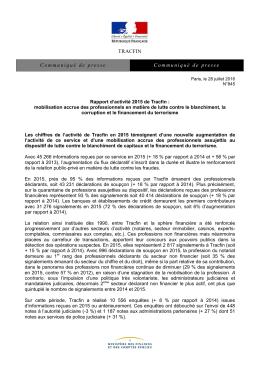 Rapport d`activité 2015 de Tracfin