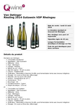 Von Oetinger Riesling 2014 Gutswein VDP Rheingau