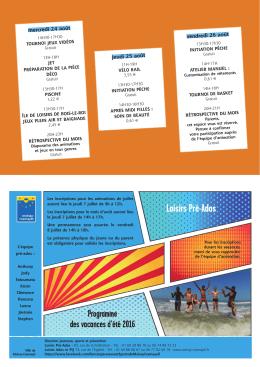 e programme de l`été 2016 des pré-ados - Moissy