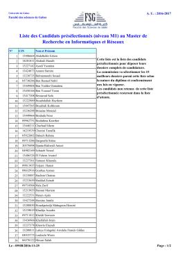 Liste des Candidats présélectionnés (niveau M1) au Master