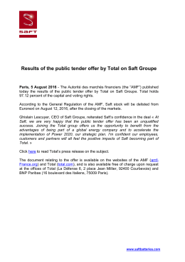 Results of the public tender offer by Total on Saft Groupe