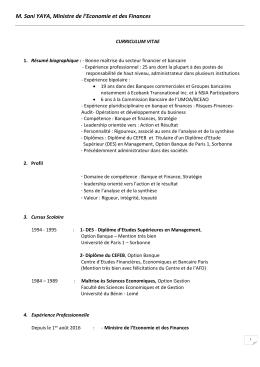 CV du Ministre - Ministère de l`Economie et des Finances
